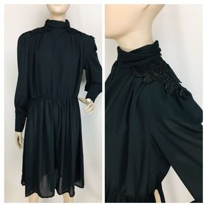 Vintage 50's/60's High Neck Chiffon Cocktail Dress